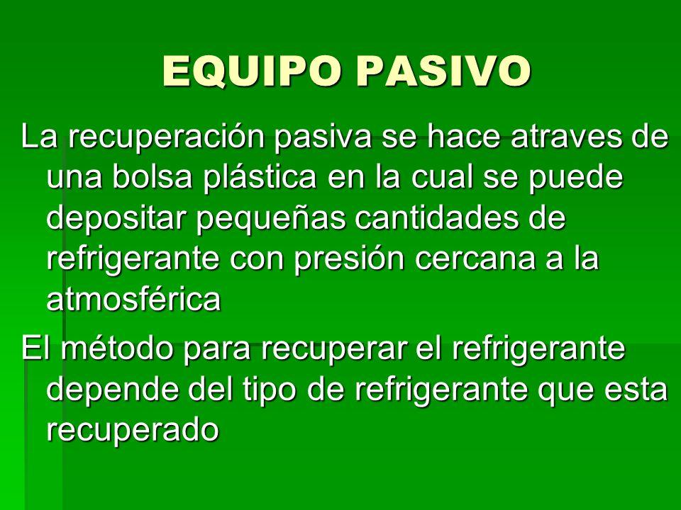 EQUIPO PASIVO La recuperación pasiva se hace atraves de una bolsa plástica en la cual se puede depositar pequeñas cantidades de refrigerante con presi