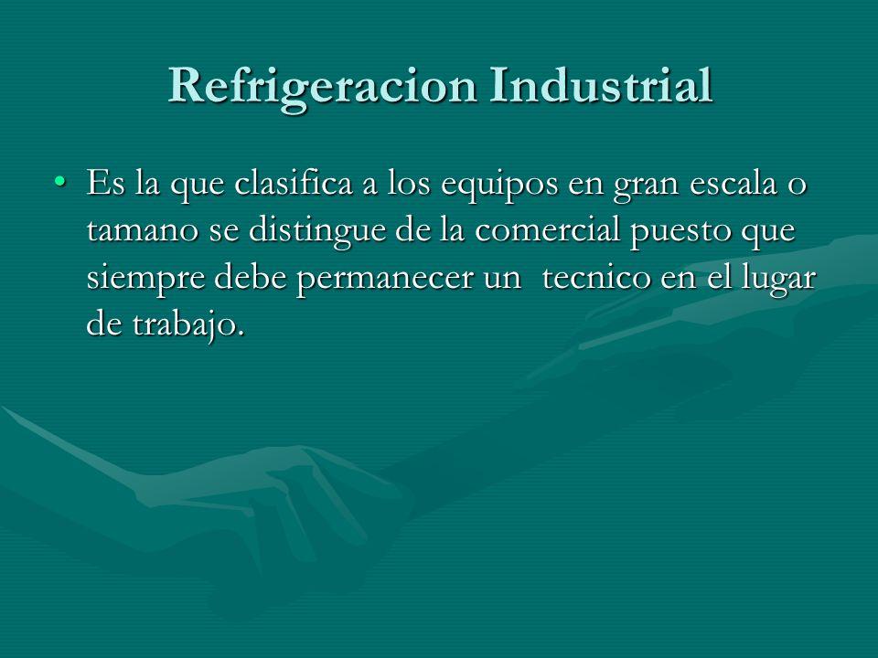 Refrigeracion Industrial Es la que clasifica a los equipos en gran escala o tamano se distingue de la comercial puesto que siempre debe permanecer un