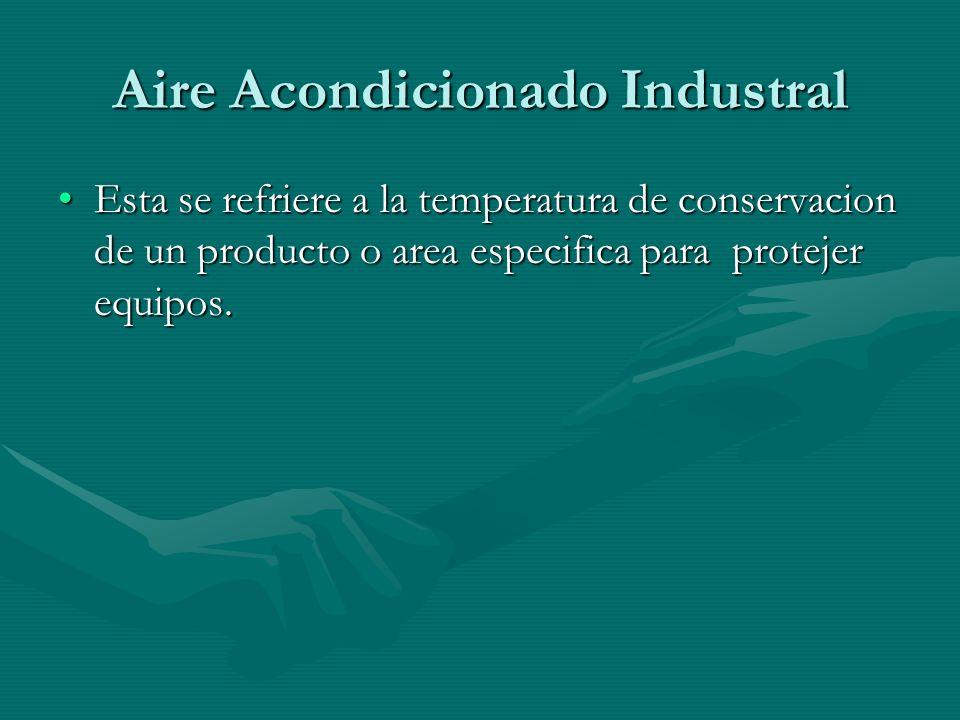 Aire Acondicionado Industral Esta se refriere a la temperatura de conservacion de un producto o area especifica para protejer equipos.Esta se refriere