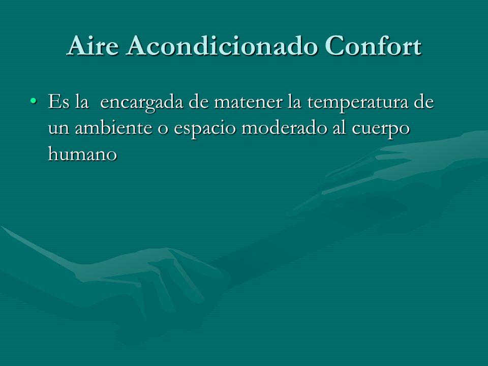 Aire Acondicionado Confort Es la encargada de matener la temperatura de un ambiente o espacio moderado al cuerpo humanoEs la encargada de matener la t