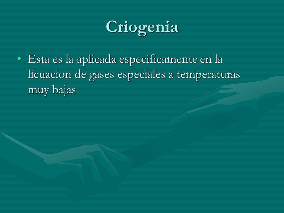 Criogenia Esta es la aplicada especificamente en la licuacion de gases especiales a temperaturas muy bajasEsta es la aplicada especificamente en la li