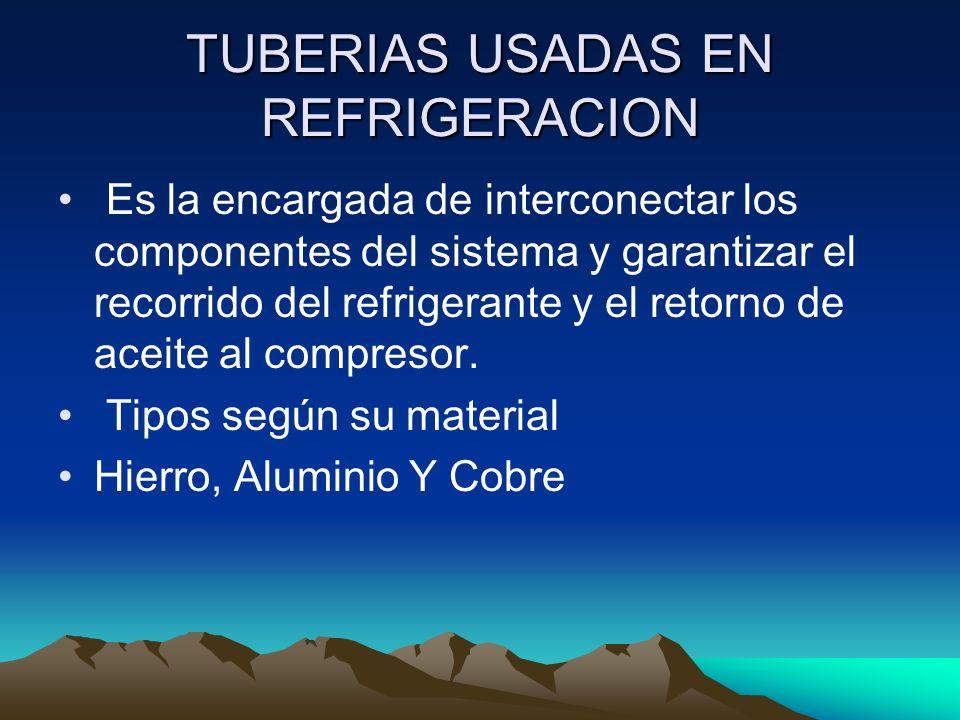 TUBERIAS USADAS EN REFRIGERACION Es la encargada de interconectar los componentes del sistema y garantizar el recorrido del refrigerante y el retorno