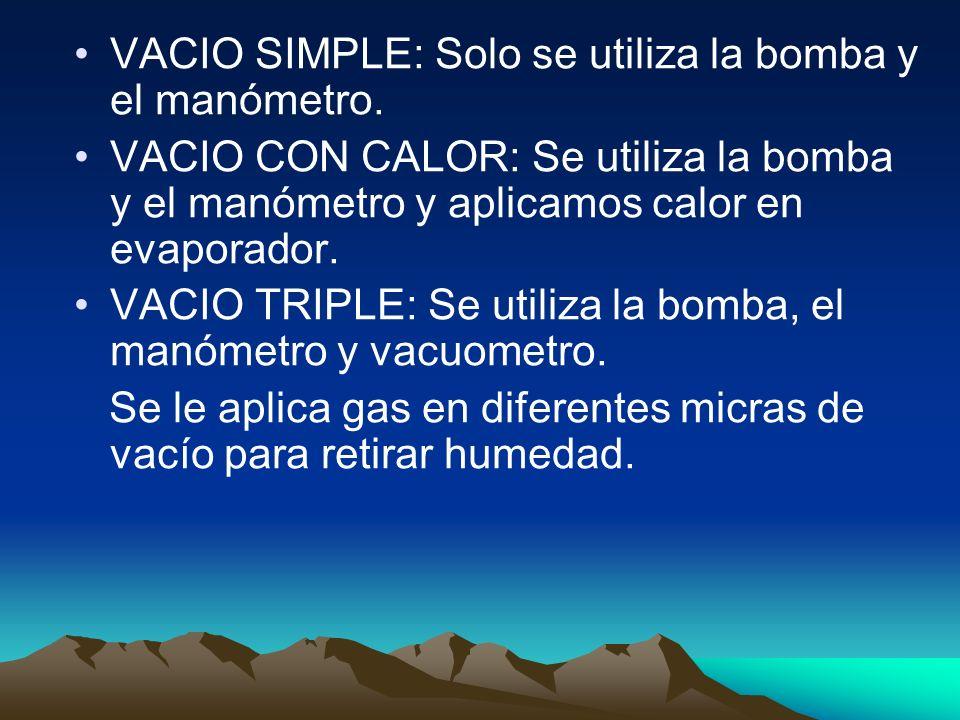 VACIO SIMPLE: Solo se utiliza la bomba y el manómetro. VACIO CON CALOR: Se utiliza la bomba y el manómetro y aplicamos calor en evaporador. VACIO TRIP