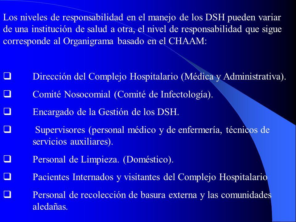 Los niveles de responsabilidad en el manejo de los DSH pueden variar de una institución de salud a otra, el nivel de responsabilidad que sigue corresponde al Organigrama basado en el CHAAM: Dirección del Complejo Hospitalario (Médica y Administrativa).