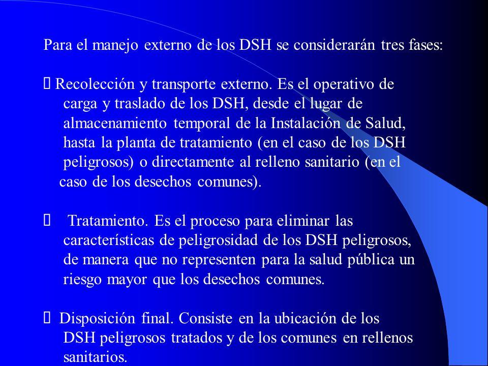 Para el manejo externo de los DSH se considerarán tres fases: Recolección y transporte externo. Es el operativo de carga y traslado de los DSH, desde