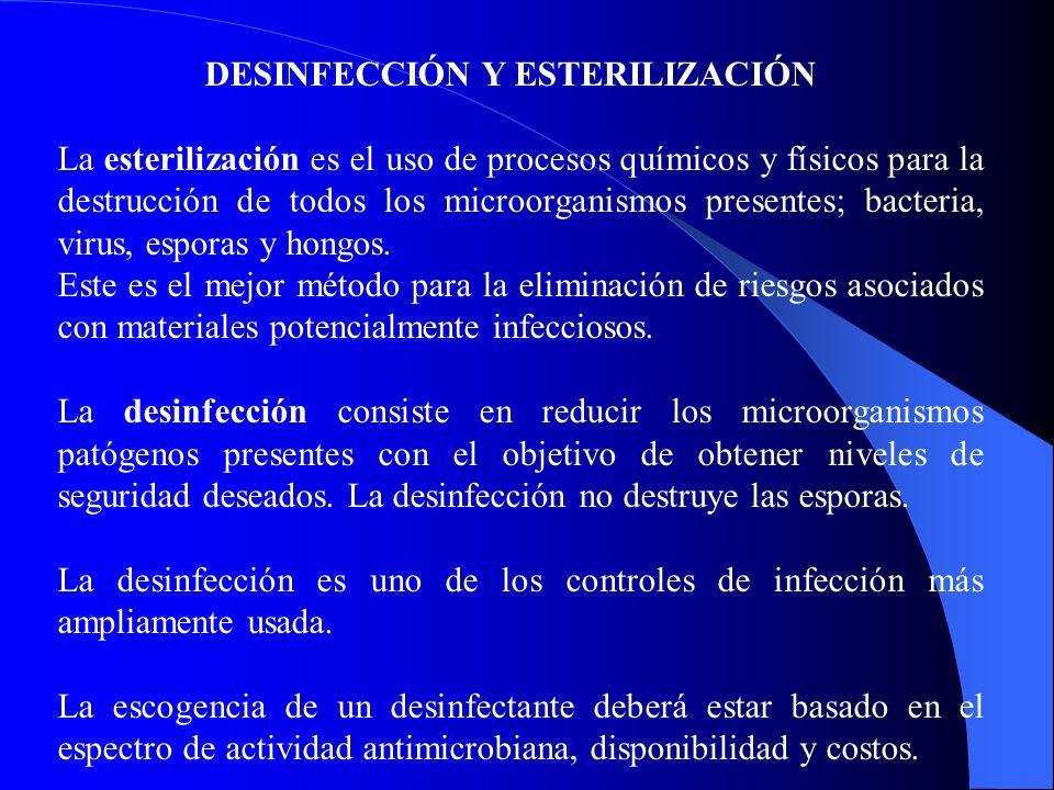 DESINFECCIÓN Y ESTERILIZACIÓN La esterilización es el uso de procesos químicos y físicos para la destrucción de todos los microorganismos presentes; bacteria, virus, esporas y hongos.