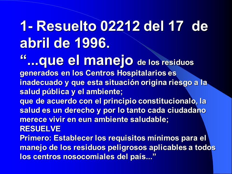 1- Resuelto 02212 del 17 de abril de 1996....que el manejo de los residuos generados en los Centros Hospitalarios es inadecuado y que esta situación origina riesgo a la salud pública y el ambiente; que de acuerdo con el principio constitucionalo, la salud es un derecho y por lo tanto cada ciudadano merece vivir en eun ambiente saludable; RESUELVE Primero: Establecer los requisitos mínimos para el manejo de los residuos peligrosos aplicables a todos los centros nosocomiales del país...