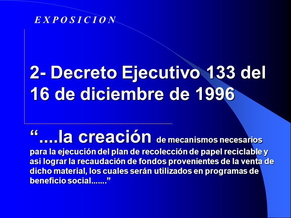 2- Decreto Ejecutivo 133 del 16 de diciembre de 1996....la creación de mecanismos necesarios para la ejecución del plan de recolección de papel recicl
