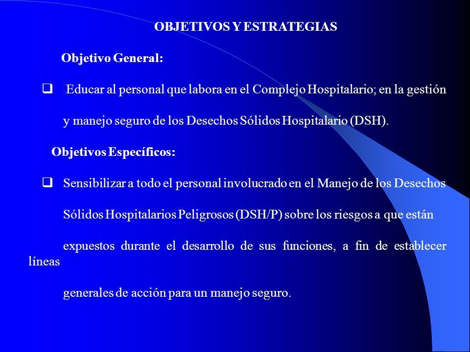 OBJETIVOS Y ESTRATEGIAS Objetivo General: Educar al personal que labora en el Complejo Hospitalario; en la gestión y manejo seguro de los Desechos Sólidos Hospitalario (DSH).