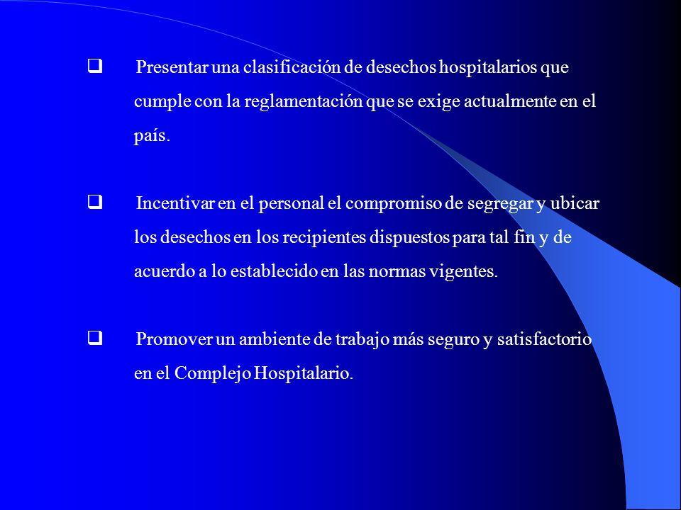 Presentar una clasificación de desechos hospitalarios que cumple con la reglamentación que se exige actualmente en el país. Incentivar en el personal