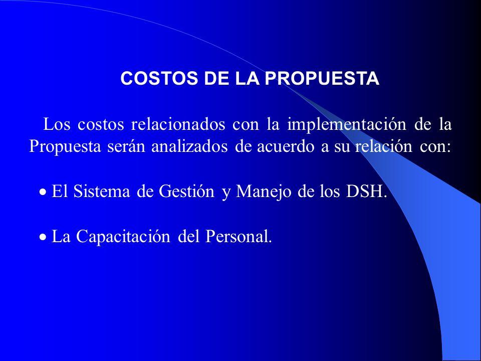 COSTOS DE LA PROPUESTA Los costos relacionados con la implementación de la Propuesta serán analizados de acuerdo a su relación con: El Sistema de Gestión y Manejo de los DSH.
