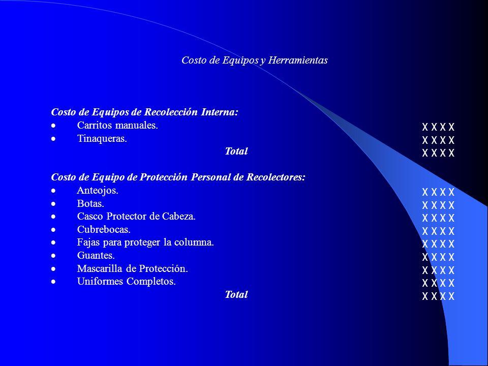 Costo de Equipos y Herramientas Costo de Equipos de Recolección Interna: Carritos manuales.