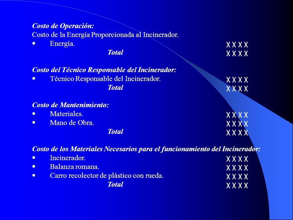 Costo de Operación: Costo de la Energía Proporcionada al Incinerador. Energía. χ χ χ χ Total χ χ χ χ Costo del Técnico Responsable del Incinerador: Té