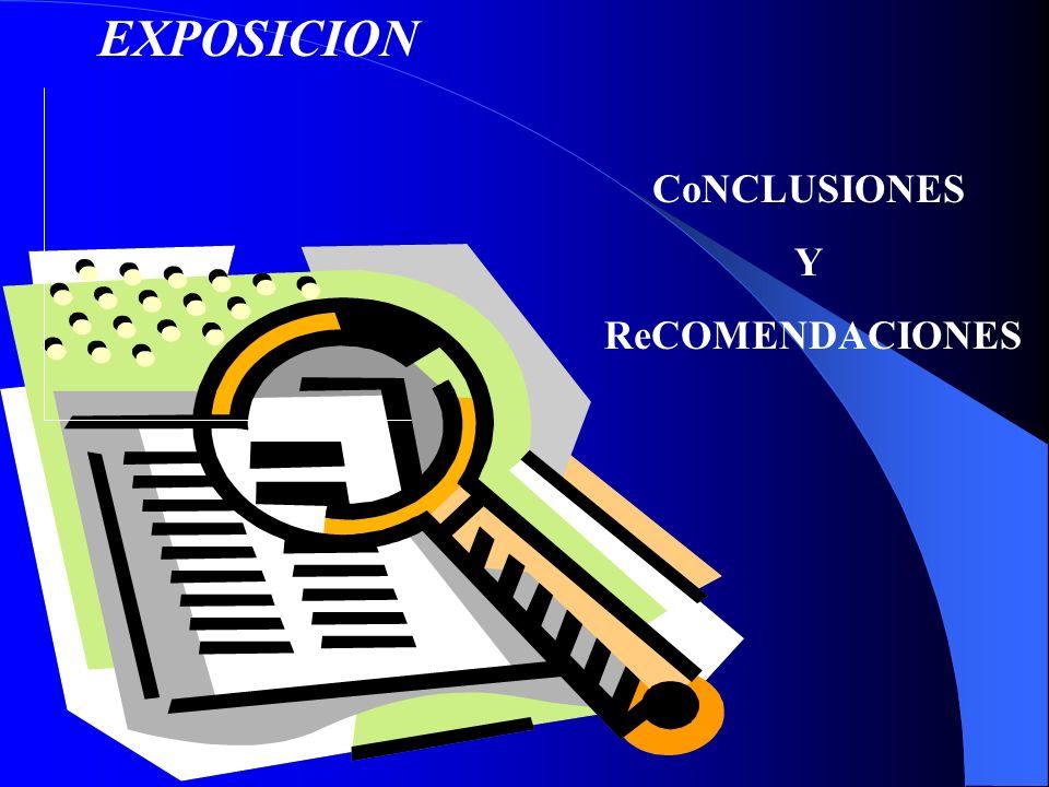 EXPOSICION CoNCLUSIONES Y ReCOMENDACIONES