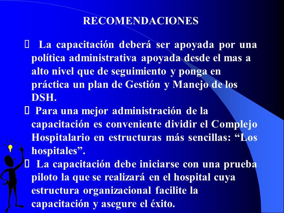 RECOMENDACIONES La capacitación deberá ser apoyada por una política administrativa apoyada desde el mas a alto nivel que de seguimiento y ponga en práctica un plan de Gestión y Manejo de los DSH.