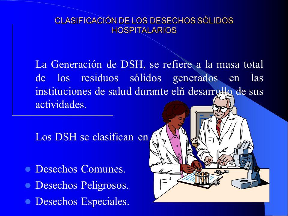 CLASIFICACIÓN DE LOS DESECHOS SÓLIDOS HOSPITALARIOS La Generación de DSH, se refiere a la masa total de los residuos sólidos generados en las instituciones de salud durante elñ desarrollo de sus actividades.