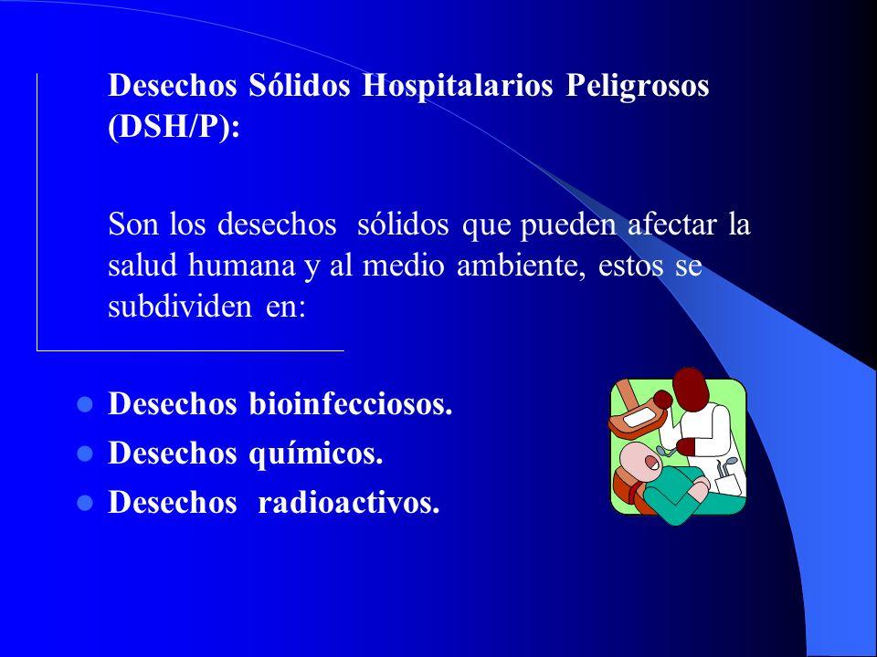 Desechos Sólidos Hospitalarios Peligrosos (DSH/P): Son los desechos sólidos que pueden afectar la salud humana y al medio ambiente, estos se subdividen en: Desechos bioinfecciosos.