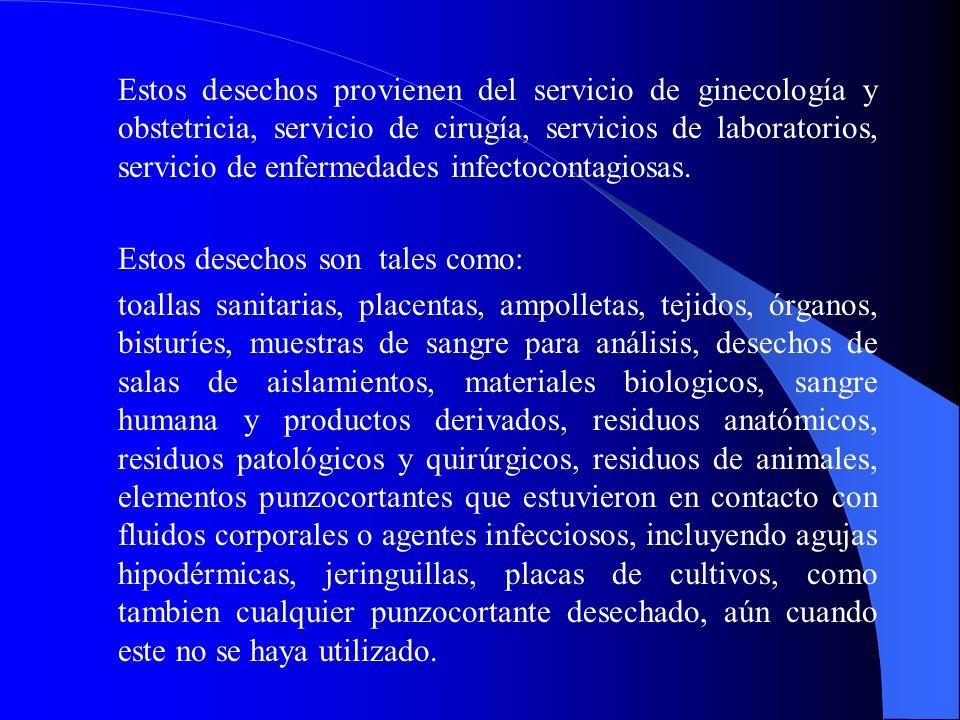 Estos desechos provienen del servicio de ginecología y obstetricia, servicio de cirugía, servicios de laboratorios, servicio de enfermedades infectocontagiosas.