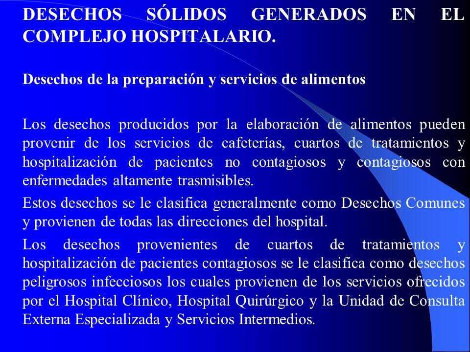 DESECHOS SÓLIDOS GENERADOS EN EL COMPLEJO HOSPITALARIO. Desechos de la preparación y servicios de alimentos Los desechos producidos por la elaboración