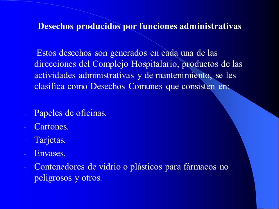 Desechos producidos por funciones administrativas Estos desechos son generados en cada una de las direcciones del Complejo Hospitalario, productos de las actividades administrativas y de mantenimiento, se les clasifica como Desechos Comunes que consisten en: - - Papeles de oficinas.