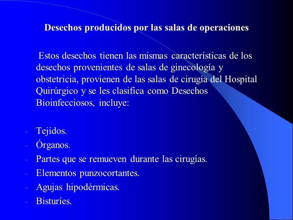 Desechos producidos por las salas de operaciones Estos desechos tienen las mismas características de los desechos provenientes de salas de ginecología y obstetricia, provienen de las salas de cirugía del Hospital Quirúrgico y se les clasifica como Desechos Bioinfecciosos, incluye: - - Tejidos.