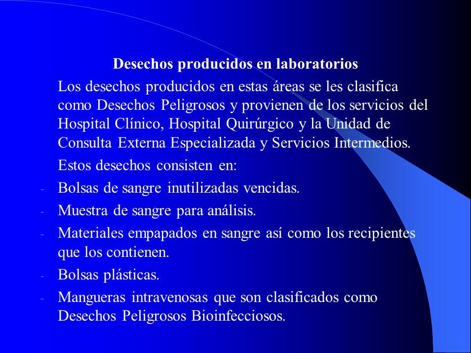 Desechos producidos en laboratorios Los desechos producidos en estas áreas se les clasifica como Desechos Peligrosos y provienen de los servicios del Hospital Clínico, Hospital Quirúrgico y la Unidad de Consulta Externa Especializada y Servicios Intermedios.