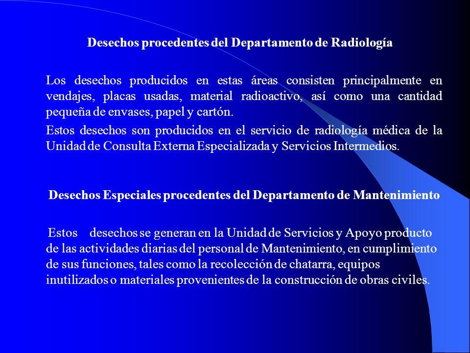 Desechos procedentes del Departamento de Radiología Los desechos producidos en estas áreas consisten principalmente en vendajes, placas usadas, materi