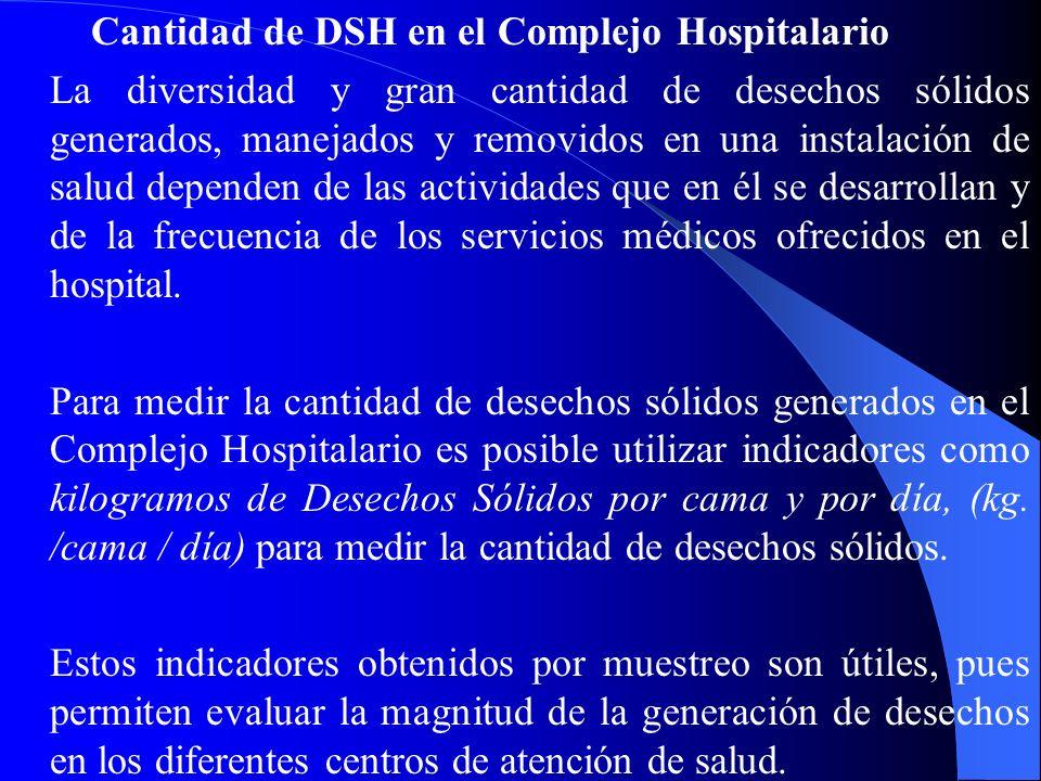 Cantidad de DSH en el Complejo Hospitalario La diversidad y gran cantidad de desechos sólidos generados, manejados y removidos en una instalación de s