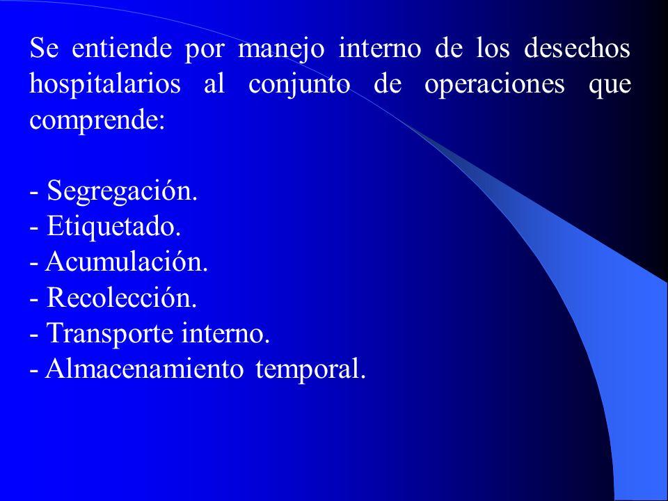 Se entiende por manejo interno de los desechos hospitalarios al conjunto de operaciones que comprende: - Segregación.