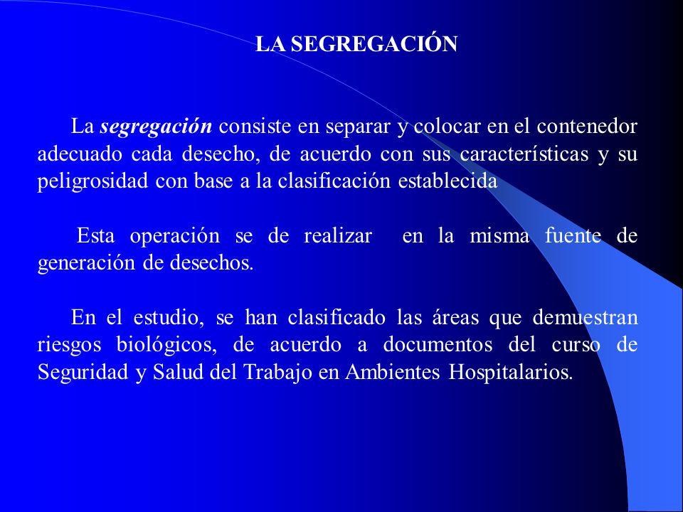 LA SEGREGACIÓN La segregación consiste en separar y colocar en el contenedor adecuado cada desecho, de acuerdo con sus características y su peligrosid