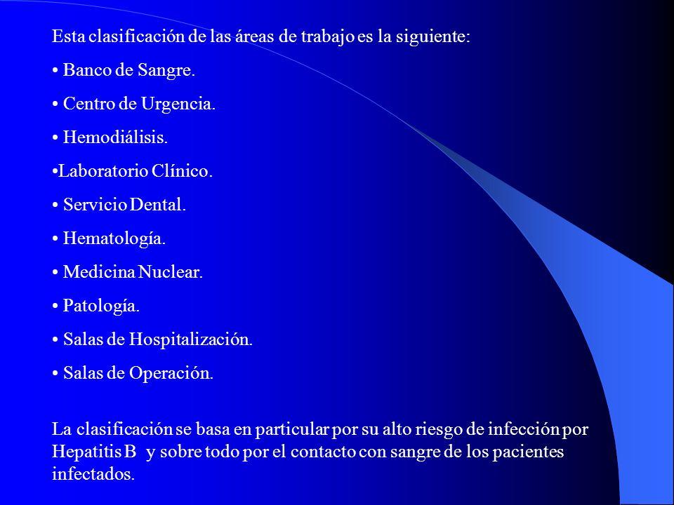 Esta clasificación de las áreas de trabajo es la siguiente: Banco de Sangre.
