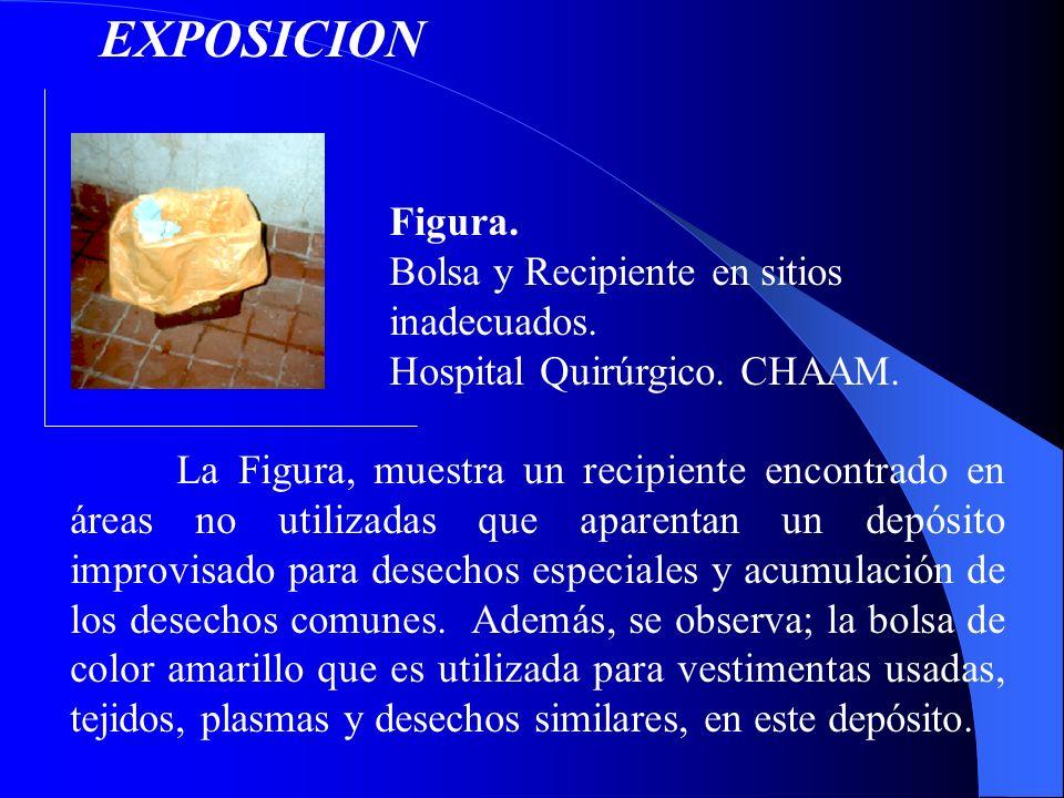 Figura. Bolsa y Recipiente en sitios inadecuados. Hospital Quirúrgico. CHAAM. La Figura, muestra un recipiente encontrado en áreas no utilizadas que a