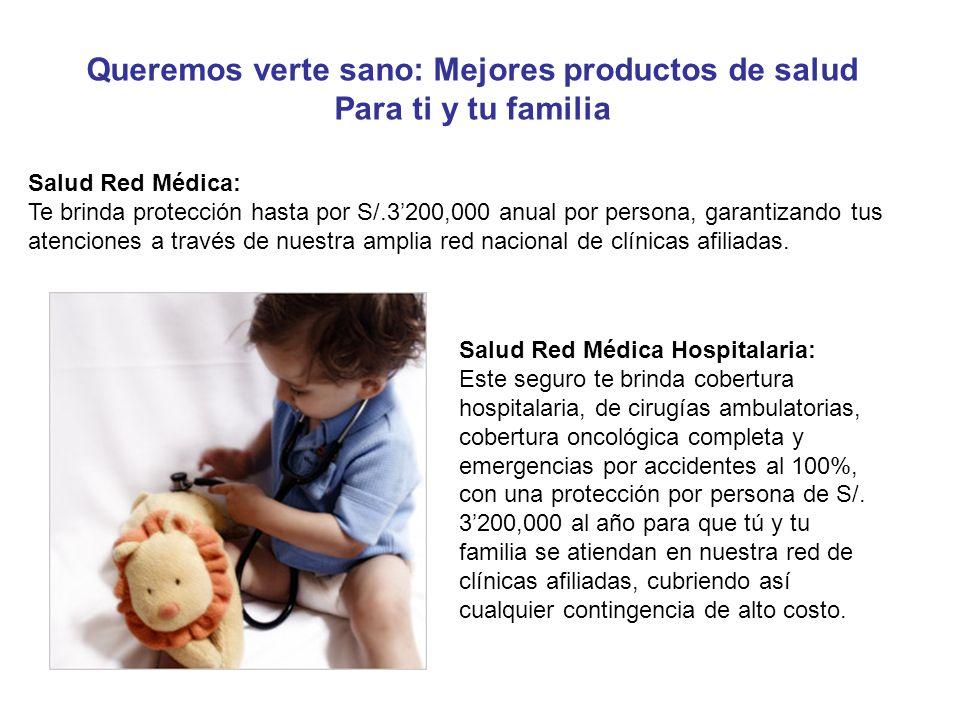 Salud Red Médica: Te brinda protección hasta por S/.3200,000 anual por persona, garantizando tus atenciones a través de nuestra amplia red nacional de