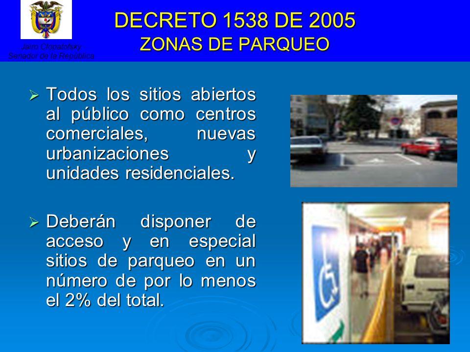 DECRETO 1538 DE 2005 ZONAS DE PARQUEO Todos los sitios abiertos al público como centros comerciales, nuevas urbanizaciones y unidades residenciales. T