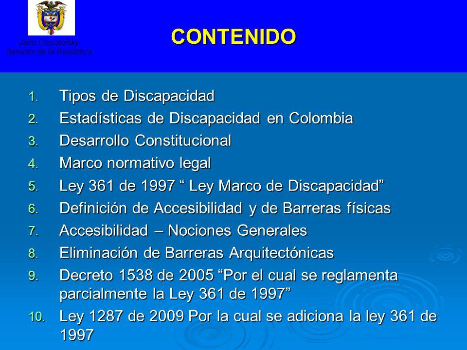 CONTENIDO 1. Tipos de Discapacidad 2. Estadísticas de Discapacidad en Colombia 3. Desarrollo Constitucional 4. Marco normativo legal 5. Ley 361 de 199