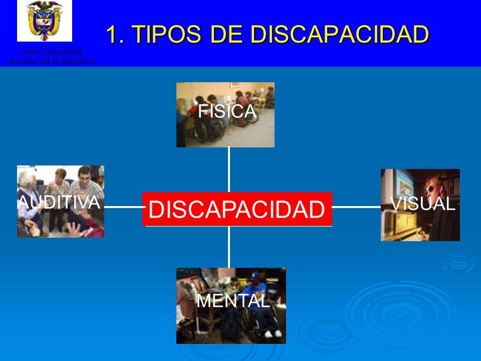 1. TIPOS DE DISCAPACIDAD 1. TIPOS DE DISCAPACIDAD Jairo Clopatofsky Senador de la República FISICA MENTAL VISUAL AUDITIVA DISCAPACIDAD