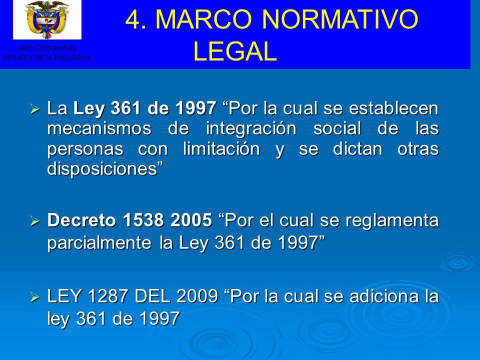 La Ley 361 de 1997 Por la cual se establecen mecanismos de integración social de las personas con limitación y se dictan otras disposiciones La Ley 36