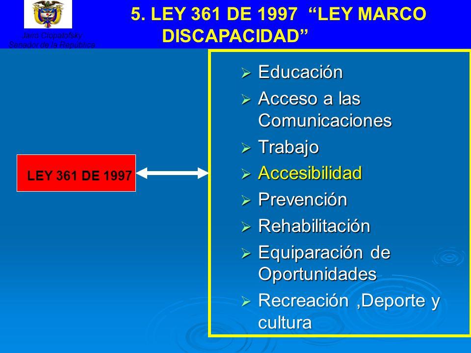 Educación Educación Acceso a las Comunicaciones Acceso a las Comunicaciones Trabajo Trabajo Accesibilidad Accesibilidad Prevención Prevención Rehabili
