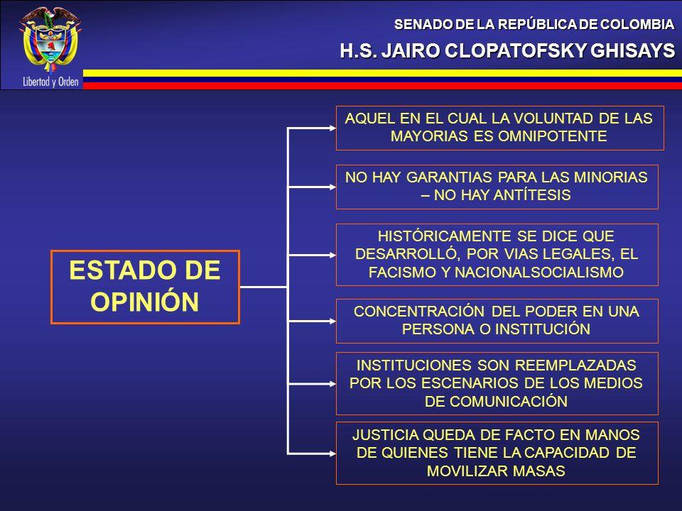 H.S. JAIRO CLOPATOFSKY GHISAYS SENADO DE LA REPÚBLICA DE COLOMBIA ESTADO DE OPINIÓN AQUEL EN EL CUAL LA VOLUNTAD DE LAS MAYORIAS ES OMNIPOTENTE NO HAY