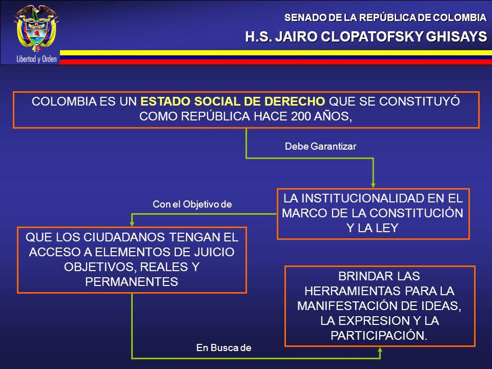 H.S. JAIRO CLOPATOFSKY GHISAYS SENADO DE LA REPÚBLICA DE COLOMBIA COLOMBIA ES UN ESTADO SOCIAL DE DERECHO QUE SE CONSTITUYÓ COMO REPÚBLICA HACE 200 AÑ