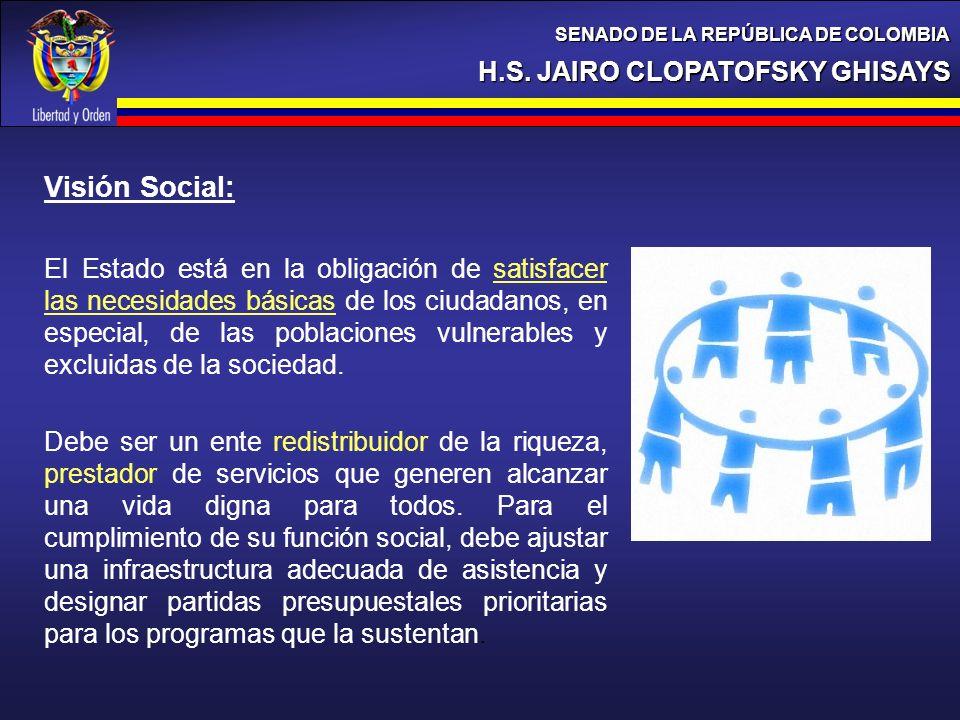 H.S. JAIRO CLOPATOFSKY GHISAYS SENADO DE LA REPÚBLICA DE COLOMBIA Visión Social: El Estado está en la obligación de satisfacer las necesidades básicas