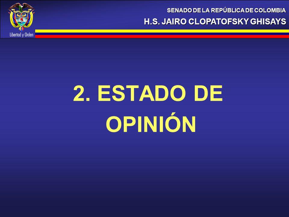 2. ESTADO DE OPINIÓN H.S. JAIRO CLOPATOFSKY GHISAYS SENADO DE LA REPÚBLICA DE COLOMBIA