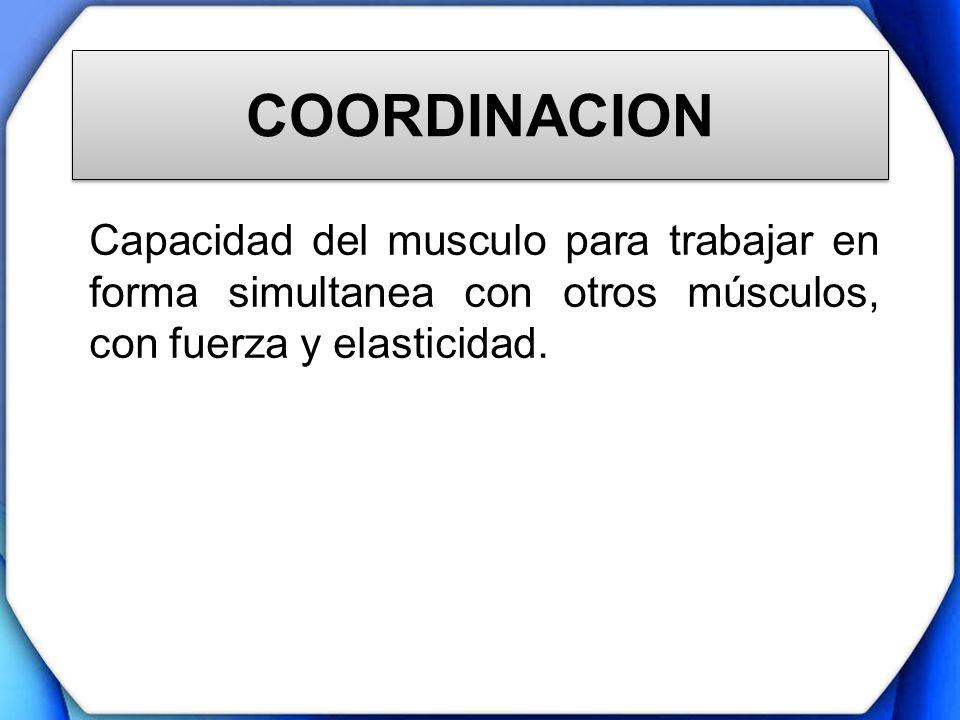 COORDINACION Capacidad del musculo para trabajar en forma simultanea con otros músculos, con fuerza y elasticidad.