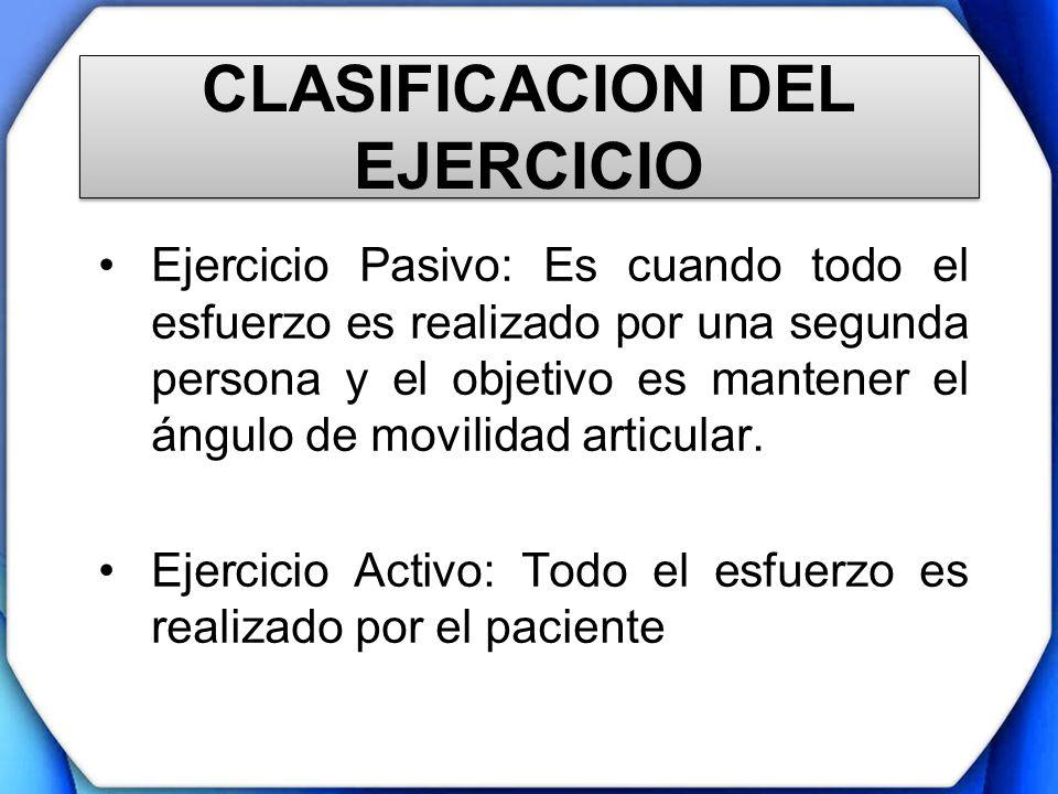 CLASIFICACION DEL EJERCICIO Ejercicio Pasivo: Es cuando todo el esfuerzo es realizado por una segunda persona y el objetivo es mantener el ángulo de m