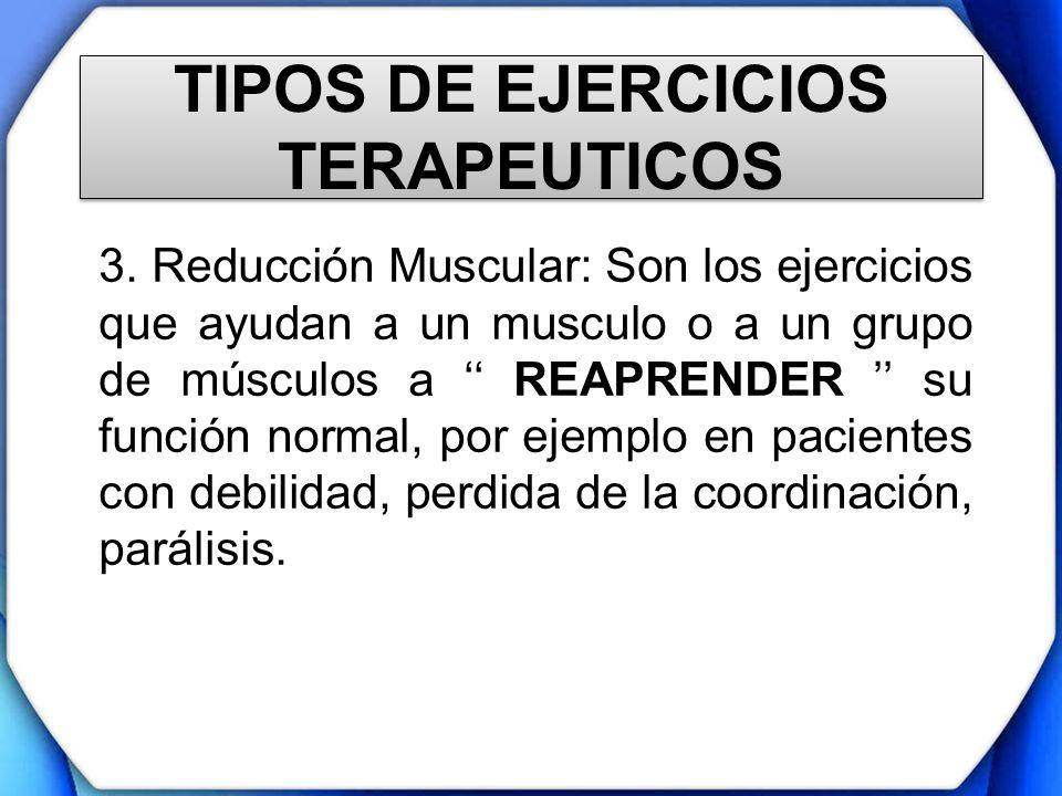 TIPOS DE EJERCICIOS TERAPEUTICOS 3. Reducción Muscular: Son los ejercicios que ayudan a un musculo o a un grupo de músculos a REAPRENDER su función no