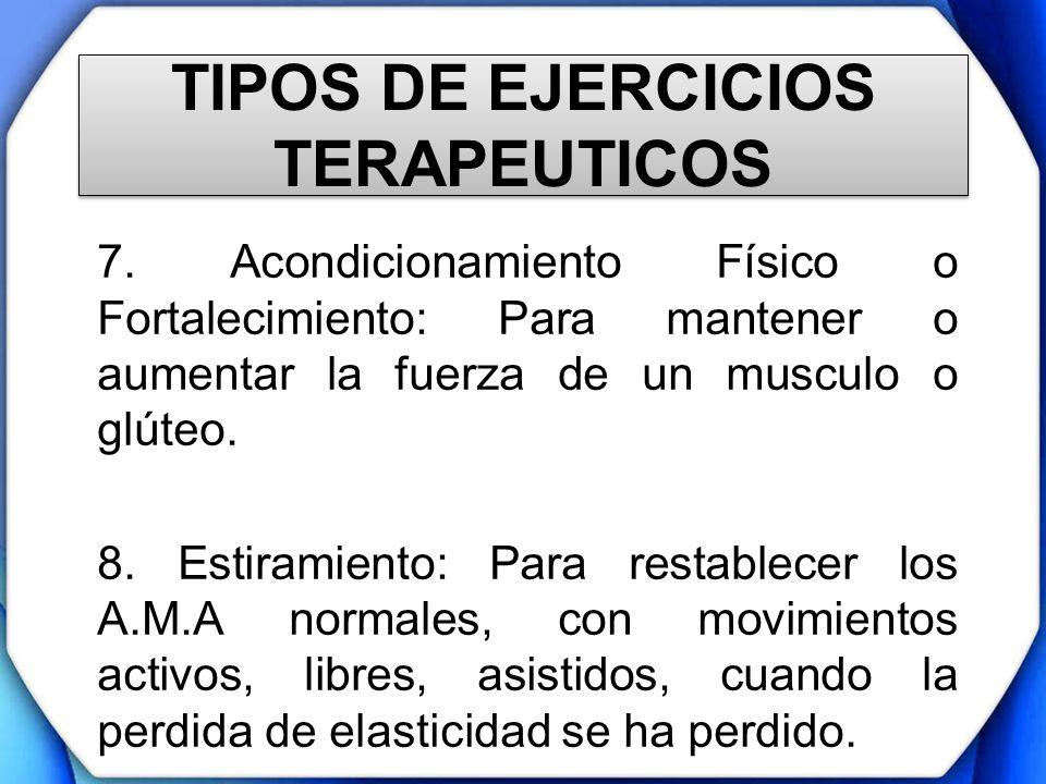 TIPOS DE EJERCICIOS TERAPEUTICOS 7. Acondicionamiento Físico o Fortalecimiento: Para mantener o aumentar la fuerza de un musculo o glúteo. 8. Estirami