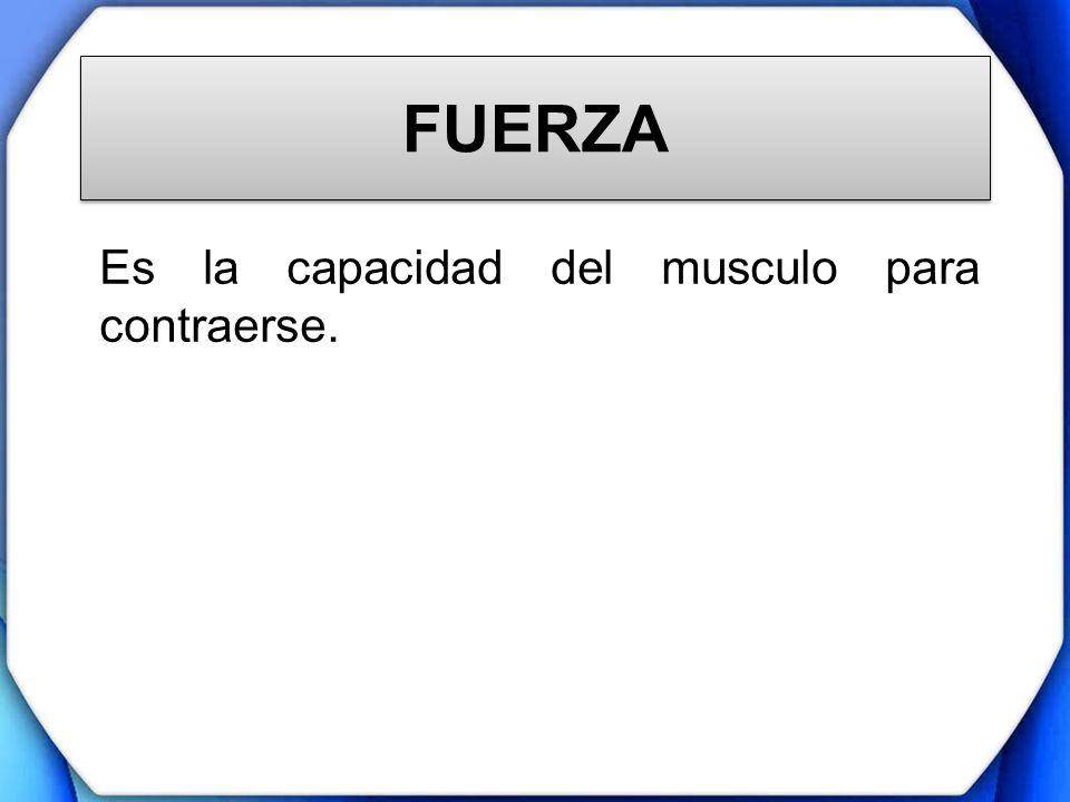FUERZA Es la capacidad del musculo para contraerse.