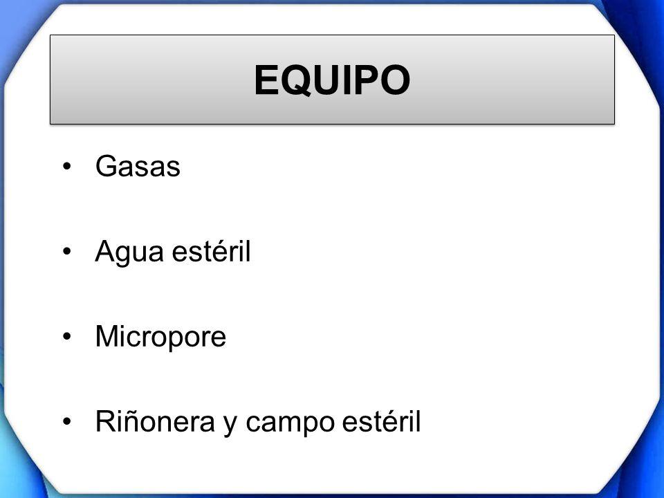 EQUIPO Gasas Agua estéril Micropore Riñonera y campo estéril