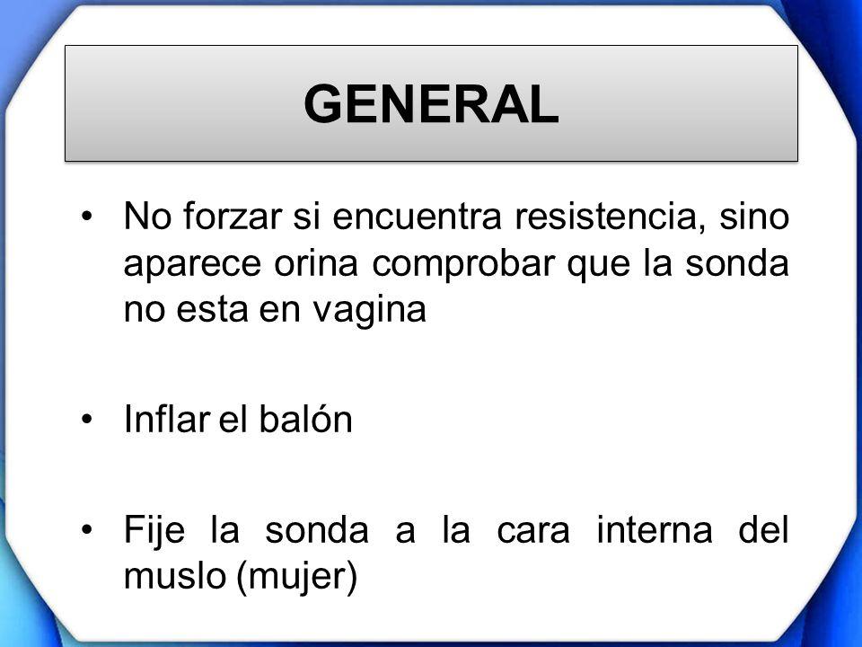 GENERAL No forzar si encuentra resistencia, sino aparece orina comprobar que la sonda no esta en vagina Inflar el balón Fije la sonda a la cara intern