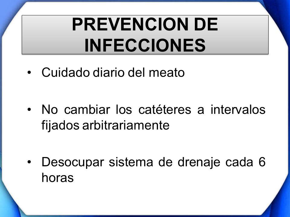 PREVENCION DE INFECCIONES Cuidado diario del meato No cambiar los catéteres a intervalos fijados arbitrariamente Desocupar sistema de drenaje cada 6 h